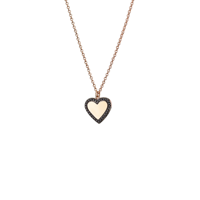 Necklace Femininity Hearts 01L15-01015 Loisir Bronze-pink gold plating