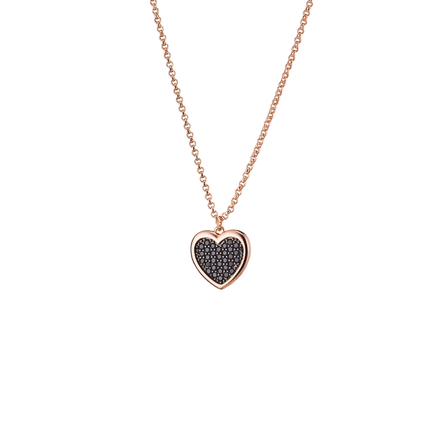 Necklace Femininity Hearts 01L15-01016 Loisir Bronze-pink gold plating