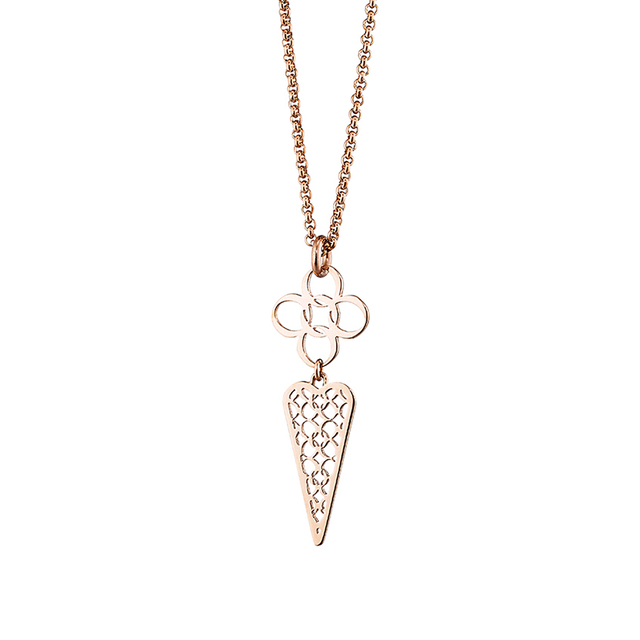 Necklace cross-heart steel 316L-rose gold plated Oxette 01X27-00222