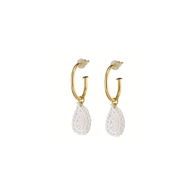 Woman's Earrings Oxette Simplicity Paisley- Mother Of Pearl