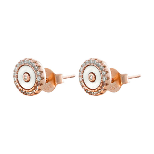 Woman's Round  Earrings Oxette Aurora Gifting-Mother Of Pearl