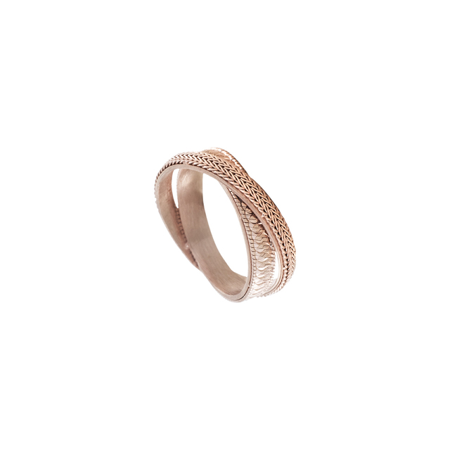 Woman's Double Ring  Oxette Glow Rose Gold Plating