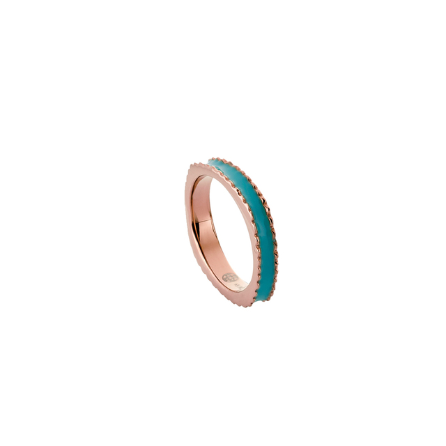 Woman's Ring Oxette Turquoise Enamel Thin
