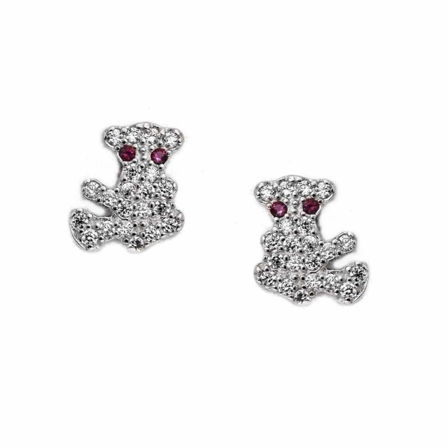 Earrings Studs Bears Silver 925 With White Zircons 103101272.700