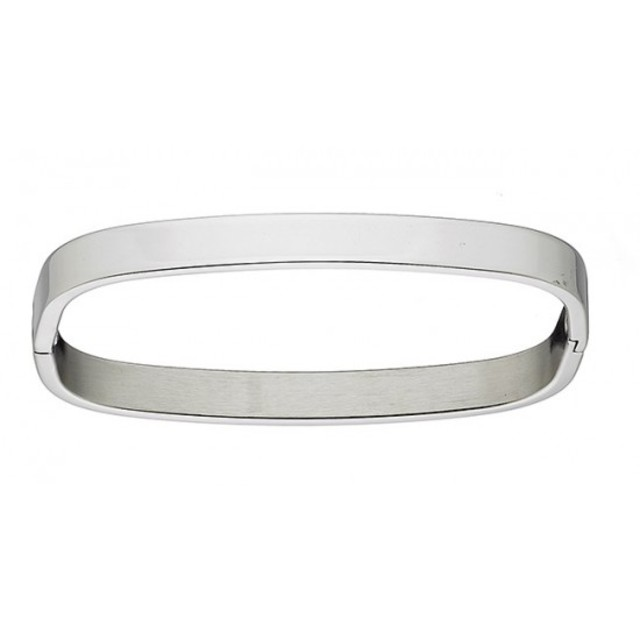 Woman bangle with corners glossy bracelet steel N-00933