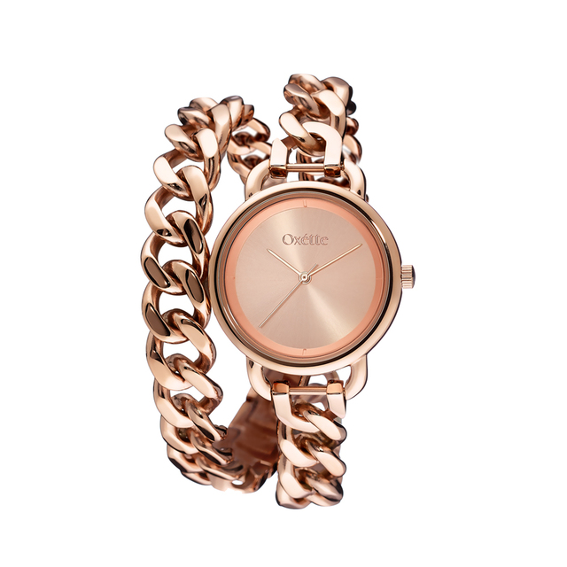Woman's Oxette Link Watch Rose Double Chain