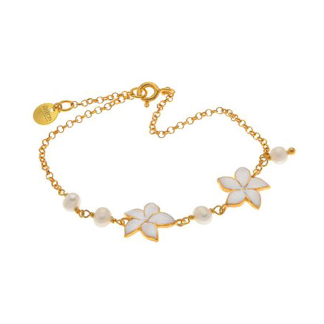 Bracelet silver 925, gold plated, chain with white flowers Arteon 12011-000