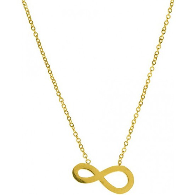 Woman surgical steel medium infinity necklace plated with yellow gold   N-01477G