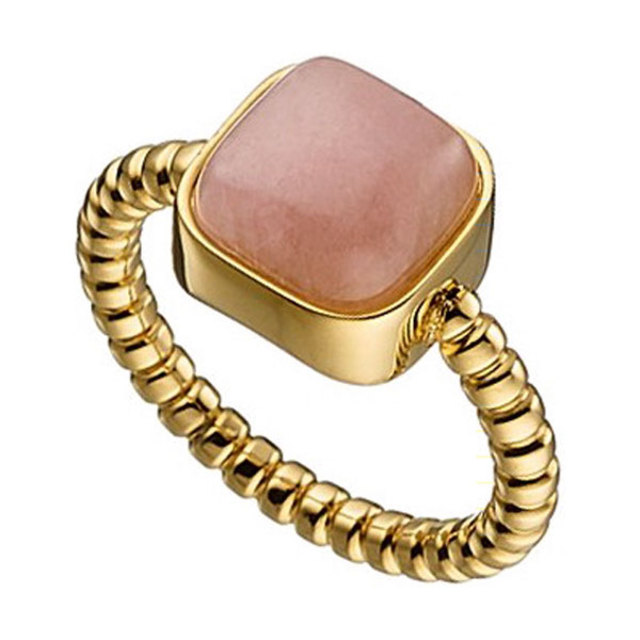Woman big ring steel gold salmon- nude N-02415