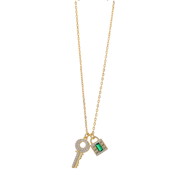 Necklace Silver Lock 925  Emerald-White Zircons  Gold 8TA-KD025-3E