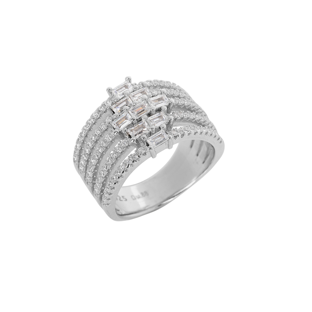 Ring Silver 925 Five Series Zircons 9J-RG007-1