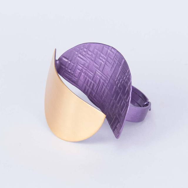 Handmade Ring, made of Bronze, Purple, Semicircles Lila Mode DA072-LV-G