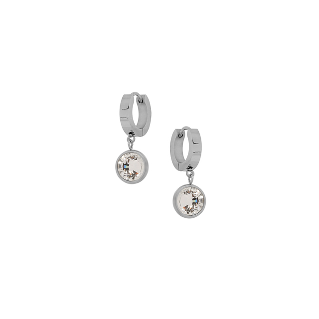Earrings Visetti Steel Hoops-White Crystal