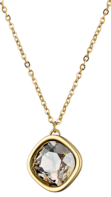 Woman short surgical steel necklace plated with yellow gold and grey crystal stone  N-07103G