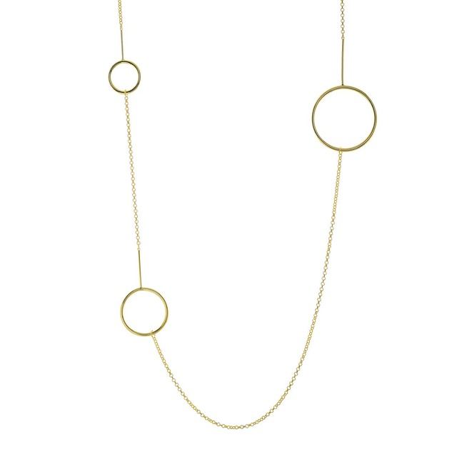 Wo man's Long Necklace Visetti Steel Gold IP Circles
