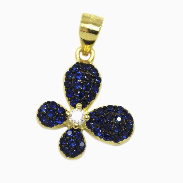 Butterfly Pendant With White And Blue Zircon Silver 925-Gold Plated 105100165.152
