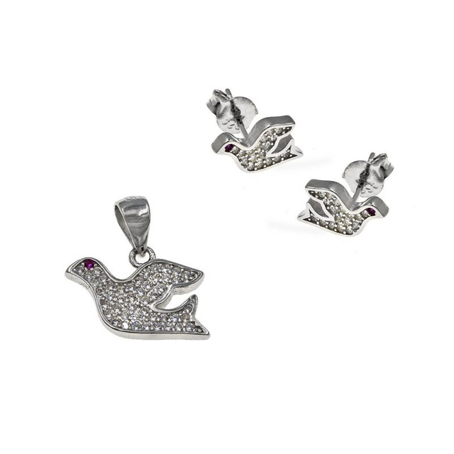 Set Pendant-Earrings Swallow Zircon Silver 925-Platinum Plating 113100082