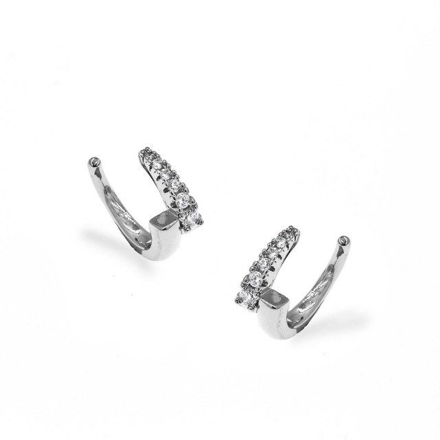 Cuff Earrings Brass-Rhodium Plating White Crystals 303100831.700