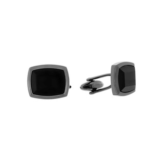 Men's Cufflinks Visetti Steeλ Black- Black Stone