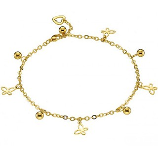 Woman ankle bracelet steel gold butterflies N-03721G