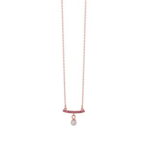 Necklace Silver 925 Pearl-Ruby Zircons Rose Gold 8A-KD249-2R