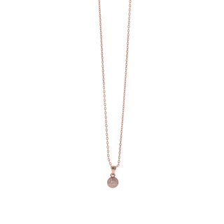 Necklace Silver 925 Ball-Ruby Zircons Rose Gold 8A-KD259-2