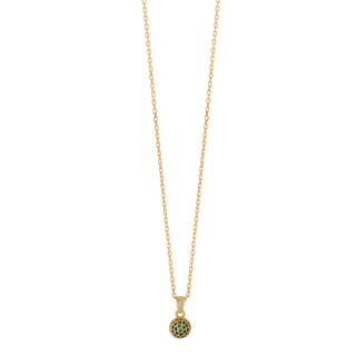Necklace Silver 925 Ball Emerald Zircons  Gold  9A-KD195-3