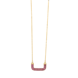 Necklace Silver 925 Curve-Ruby Zircons  Gold 8G-KD016-3R
