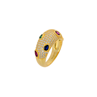 Ring Silver 925 Multicolor Zircons Gold 8G-RG022-3O