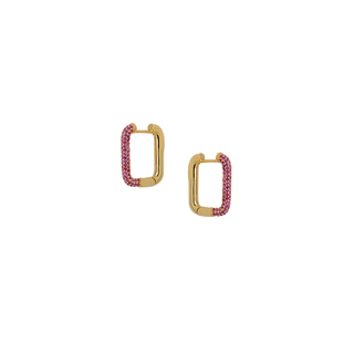 Earrings Silver 925 Hoops Corners Ruby Zircon Gold 8G-SC016-3R