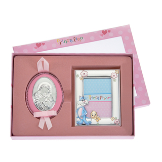 Baby set Silver 925 Frame Cat and Bird-Bedtime Icon Princelino MA-S132-3C